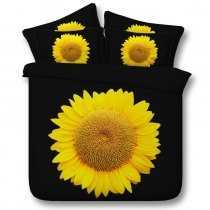 Fashion Black and Yellow Sunflower Print Simply Chic Beautiful Unique Twin, Full, Queen, King Size Bedding Sets