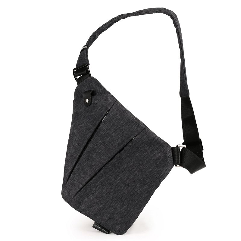 Vintage Dark Gray Waxed Canvas Men Small Crossbody Shoulder Chest Bag Durable Anti Theft Zipper Travel Hiking Cycling Sling Backpack