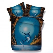 Blue and Brown Tuna Print 3D Fish Design Ocean Themed Twin, Full, Queen, King Size Bedding Sets