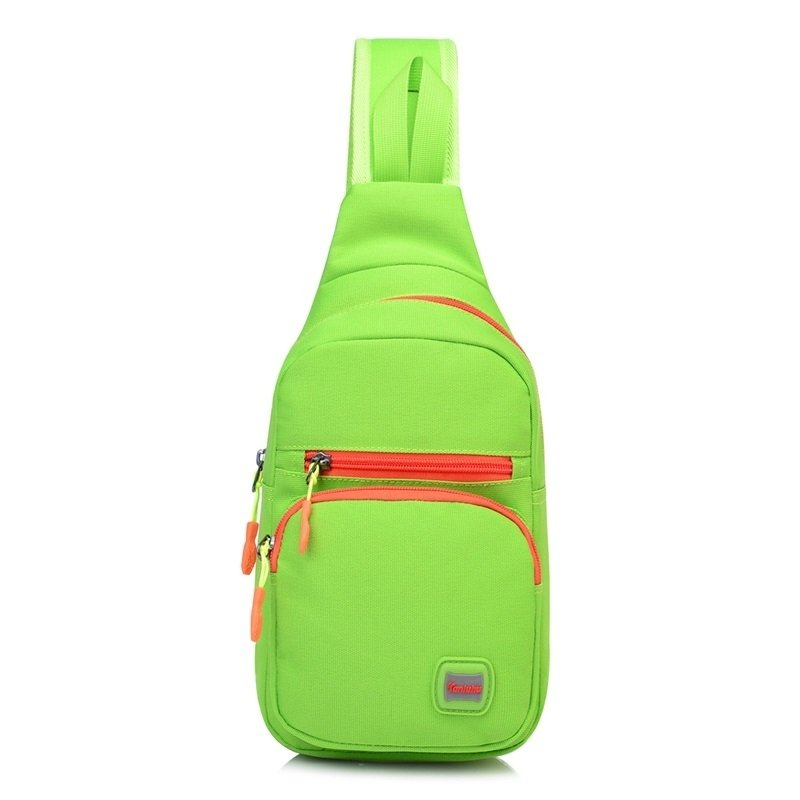 Lime Green Nylon with Orange Trim Girls Small Crossbody Shoulder Chest Bag Sturdy Sewing Pattern Casual Travel Hiking Sling Backpack