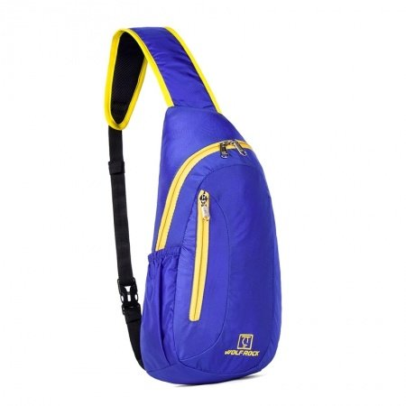 Oversized Sapphire Blue Nylon with Yellow Trim Crossbody Shoulder Chest Bag Vogue Monogrammed Print Travel Hiking Cycling Sling Backpack
