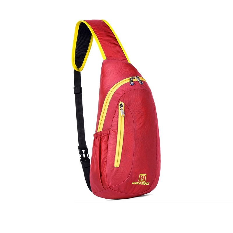 Red Nylon with Yellow Trim Women Crossbody Shoulder Chest Bag Hipster Monogrammed Print Casual Travel Hiking Cycling Sling Backpack