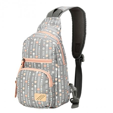 Gray Beige and Orange Polyester Women Small Crossbody Shoulder Chest Bag Hipster Polka Dot Print Travel Hiking Cycling Sling Backpack