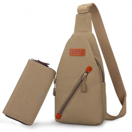Khaki Brown Waxed Canvas Men Small Crossbody Shoulder Chest Bag Vintage Sewing Pattern Casual Travel Hiking Cycling Sling Backpack