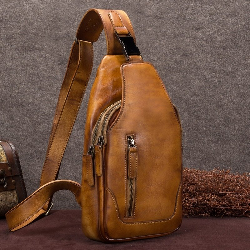 Rust Brown Distressed Waxed Cowhide Leather Crossbody Shoulder Chest Bag Vintage Sewing Pattern Anti Theft Men Travel Hiking Sling Backpack