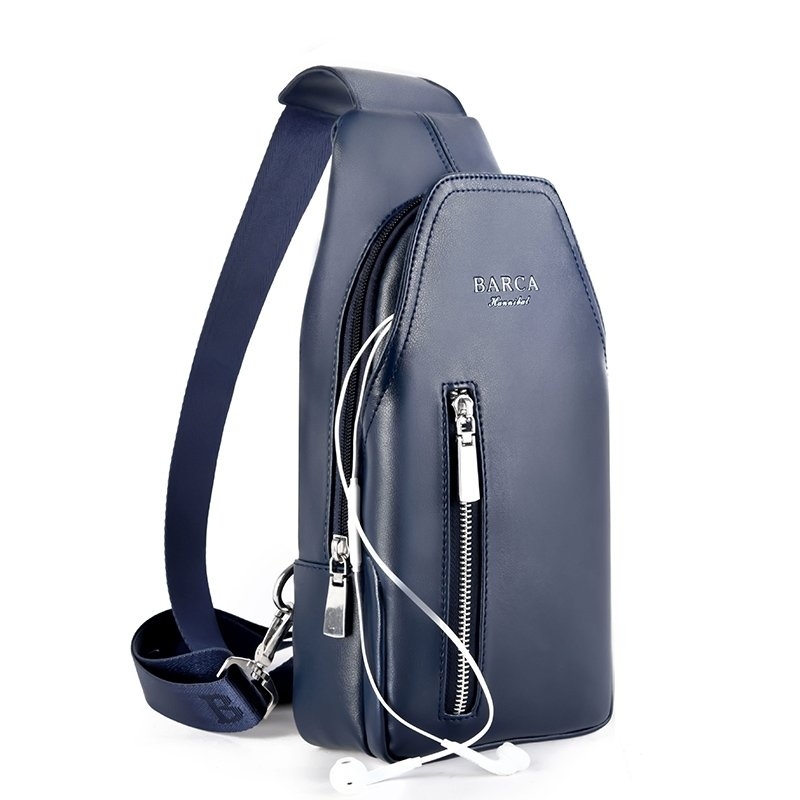 Sturdy Dark Blue Patent Leather Men Mini Crossbody Shoulder Chest Bag Vintage Sewing Pattern Casual Travel Hiking Cycling Sling Backpack