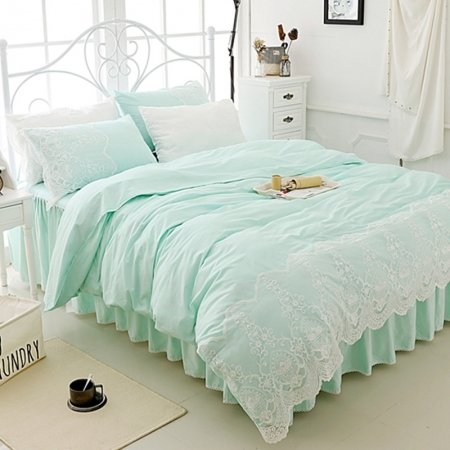 Mint Green and White Victorian Lace Design Bohemian Tribal Pattern Ruffle Elegant Twin, Full, Queen Size Bedding Sets