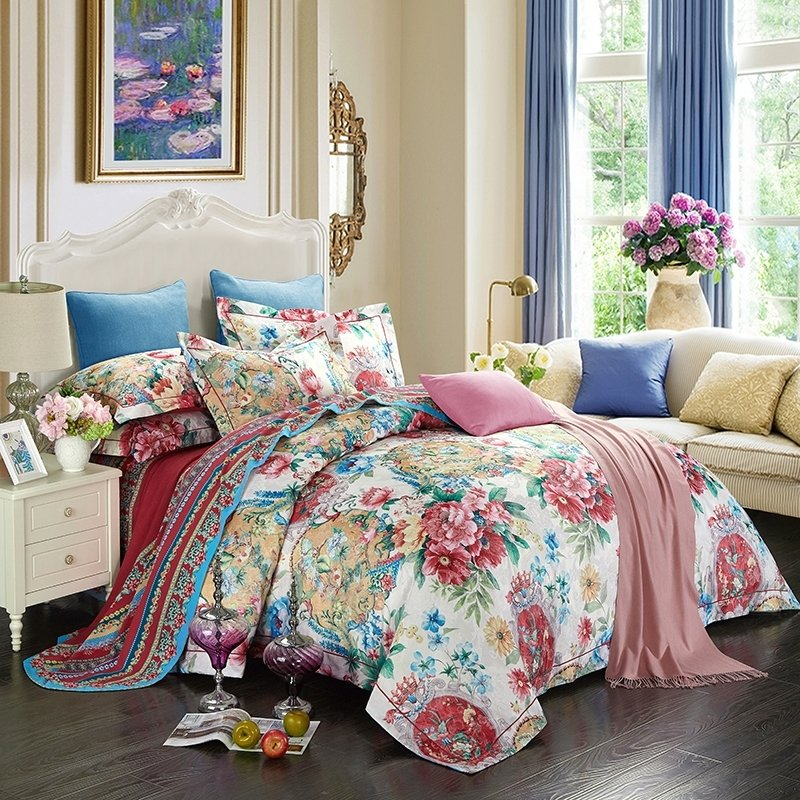 Coastal Living Red Pink Green Orange White and Sapphire Blue Moroccan Medallion and Floral Print Full, Queen Size Bedding Sets