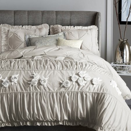 Light Tan Applique Rose Pattern Vintage Shabby Chic Lace Embroidered Sophisticated Elegant Feminine Full, Queen Size Bedding Sets