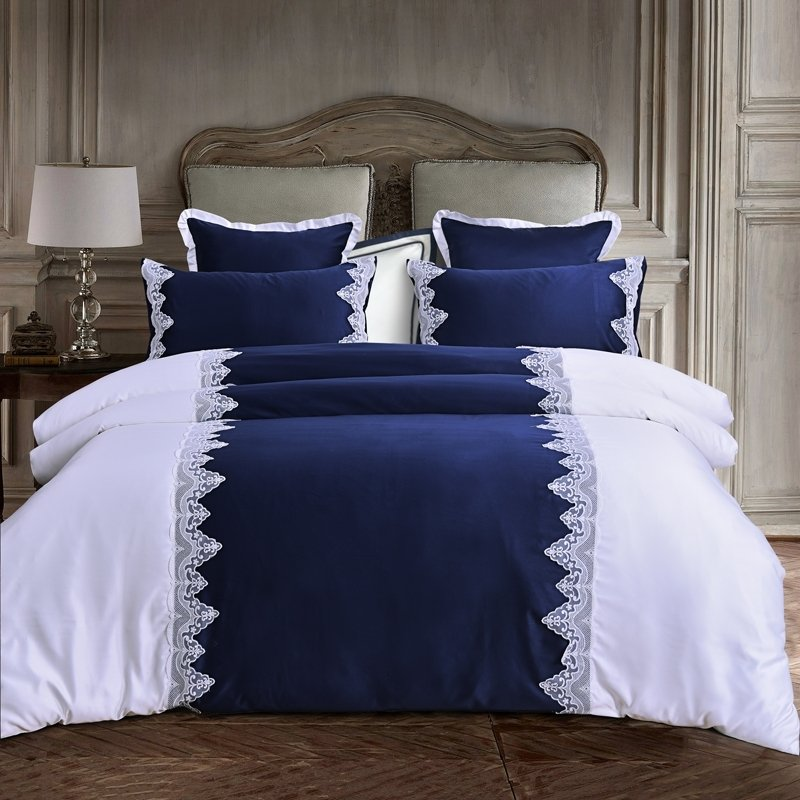 Simply Shabby Chic Royal Blue and White Vintage Victorian Lace Romantic Elegant Cotton Twin, Full, Queen Size Bedding Sets