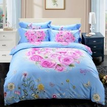 Pastel Sky Blue White Yellow and Hot Pink Butterfly Garden Rose Heart Wildflower Print Country Chic Girls Full, Queen Size Bedding Sets