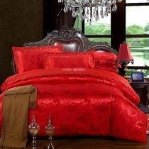 Romantic Red Beautiful Yorkshire Rose Pattern Luxurious Sequin Jacquard Satin Full, Queen Size Bedding Sets