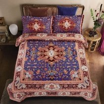 Royal Blue and Brown Moroccan Style Bohemian Chic Shabby Chic Abstract Design Full, Queen Size Bedding Sets