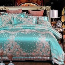 Fancy Teal and Rose Gold Floral Pattern Tropical Themed Abstract Exotic Jacquard Satin Full, Queen Size Bedding Sets