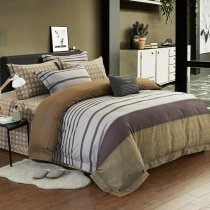 Retro Copper Brown Gray and White Ticking Stripe Print Shabby Chic 100% Egyptian Cotton Full, Queen Size Bedding Sets