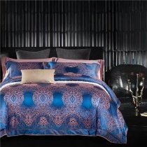 Luxury Royal Blue and Gold Indian Pattern Royal Wedding Themed Noble Excellence Full, Queen Size Bedding Sets