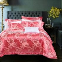 Raspberry Red and Gold Victorian Rose Pattern Feminine Feel Beautiful Girls Luxury Satin Full, Queen Size Bedding Sets