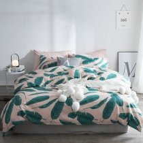 Hipster Green and White Banana Leaf Print Tropical Country Chic Hawaiian Style Twin, Full, Queen Size Bedding Sets for Teens