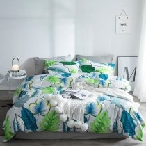 Blue Green and White Fern Leaf Print French Country Chic Tropical Hawaiian Style Twin, Full, Queen Size Bedding Sets