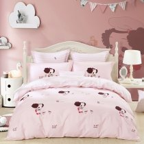 Pretty Brown Red and Light Pink Cute Little Girl Print Stylish Cartoon Themed Twin, Full, Queen Size Bedding Sets