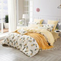 Hipster Yellow White and Gray Pineapple Print Rustic Chic Shabby Chic Twin, Full, Queen Size Bedding Sets