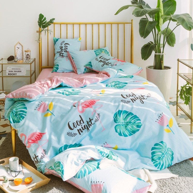 Light Blue Turquoise And Pink Tropical Flamingo And Leaf Print Beautiful Animal Themed Cute Style Twin Full Size Bedding Sets