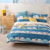 Teal Blue and White Funky Kids Emoji Print Twin, Full Size Bedding Sets