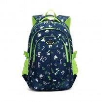 Black White and Lime Green Polyester Boys Pupil School Book Bag Butterfly Anchor Monogrammed Leaf Print Campus Backpack