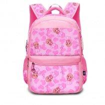 Hot Pink and Blush Polyester Elegant Girls Pupil School Book Bag Polka Dot Bow Heart Print Preppy Campus Backpack