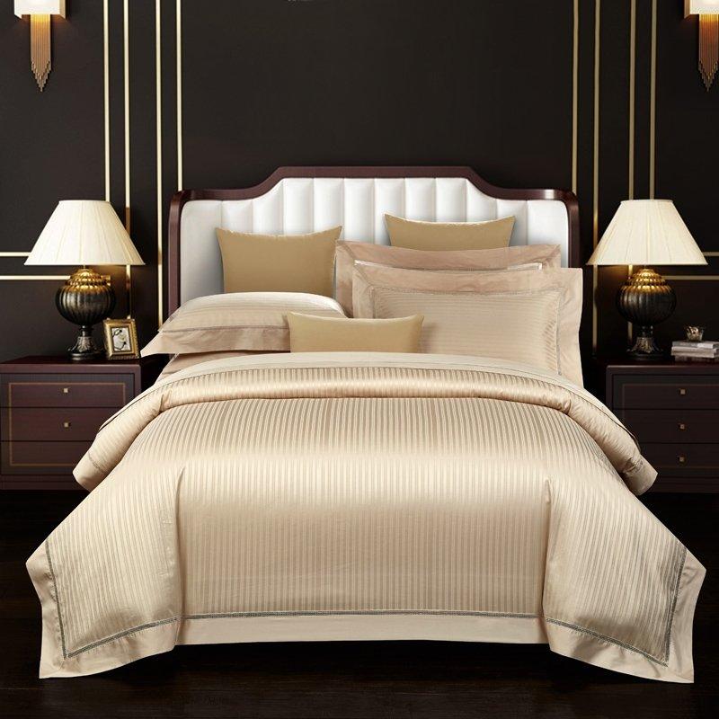 Champagne Gold Vertical Stripes Shiny, Gold Satin Bedding