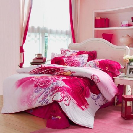 Red White and Pink Antique Kumala Rose Pattern Full, Queen Size Girls Bedroom Bedding Sets