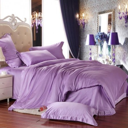 Light Lavender Purple Solid Pure Color Simply Chic Full, Queen Size 100% Tencel Lyocell Bedding Sets