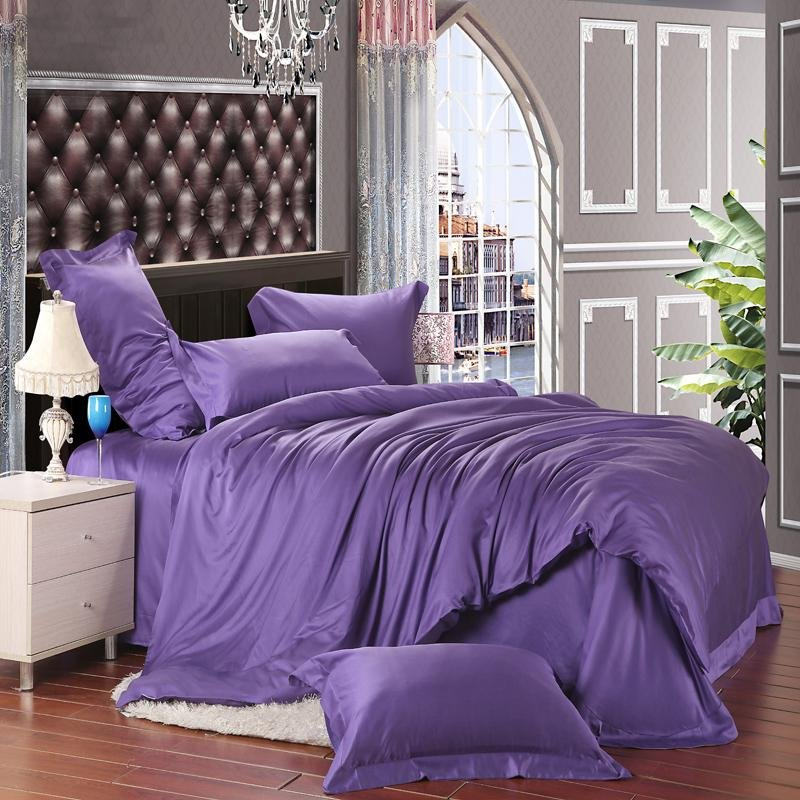 Solid Dark Purple Pure Color Simply Shabby Chic 100% Soft Tencel Lyocell Full, Queen Size Bedding Sets