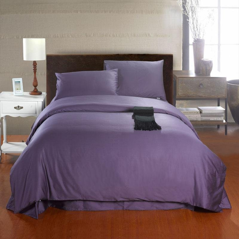 Solid Deep Purple Pure Color High Fashion Simply Shabby Chic Full, Queen Size Luxury Egyptian Cotton Bedding Sets