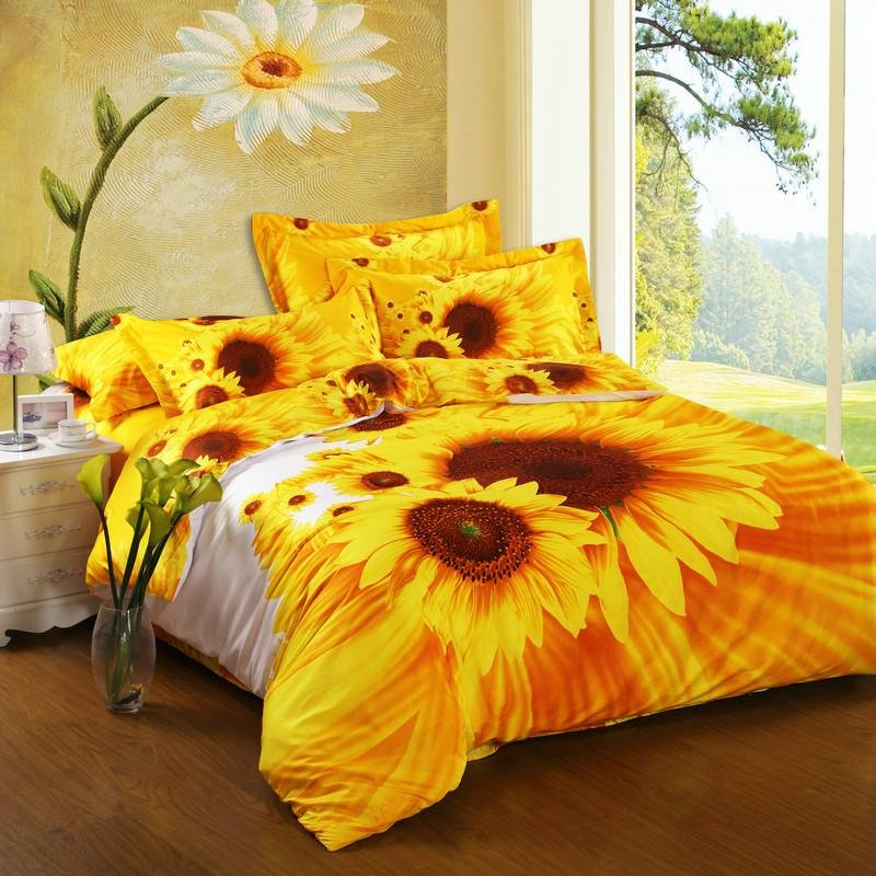 Bright Yellow Orange And White Sunflower Print 100 Cotton