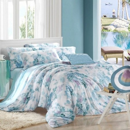 Blue and White Porcelain Inspired Asian Floral Print 100% Silk Soft Modal Tencel Full Queen Size Bedding Comforter Cover Sets