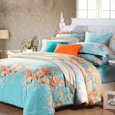 Electric Blue Orange and White Spring Garden Images Colorful Floral Print Full, Queen Size 100% Cotton Bedding Sets