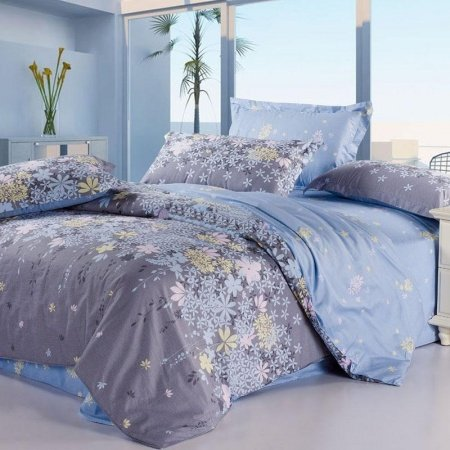 Grey and Blue Country Flower Full, Queen Size Waverly Garden Images 100% Cotton Bedding Sets