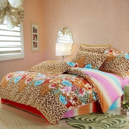 Brown Pink and Turquoise Green Leopard, Cheetah and Colorful Flower Print Sexy Adults Bedroom Full, Queen Size 100% Cotton Bedding Sets