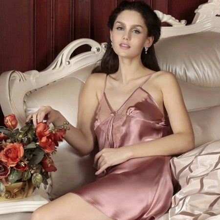 Sexy Chic Lace Luxury Princess V-neck Straps Backless 100% Chinese Silk Pajamas