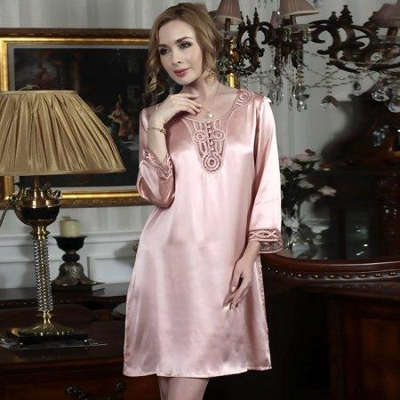 Pink One Piece Silk Satin Smooth Pajamas Nightgown