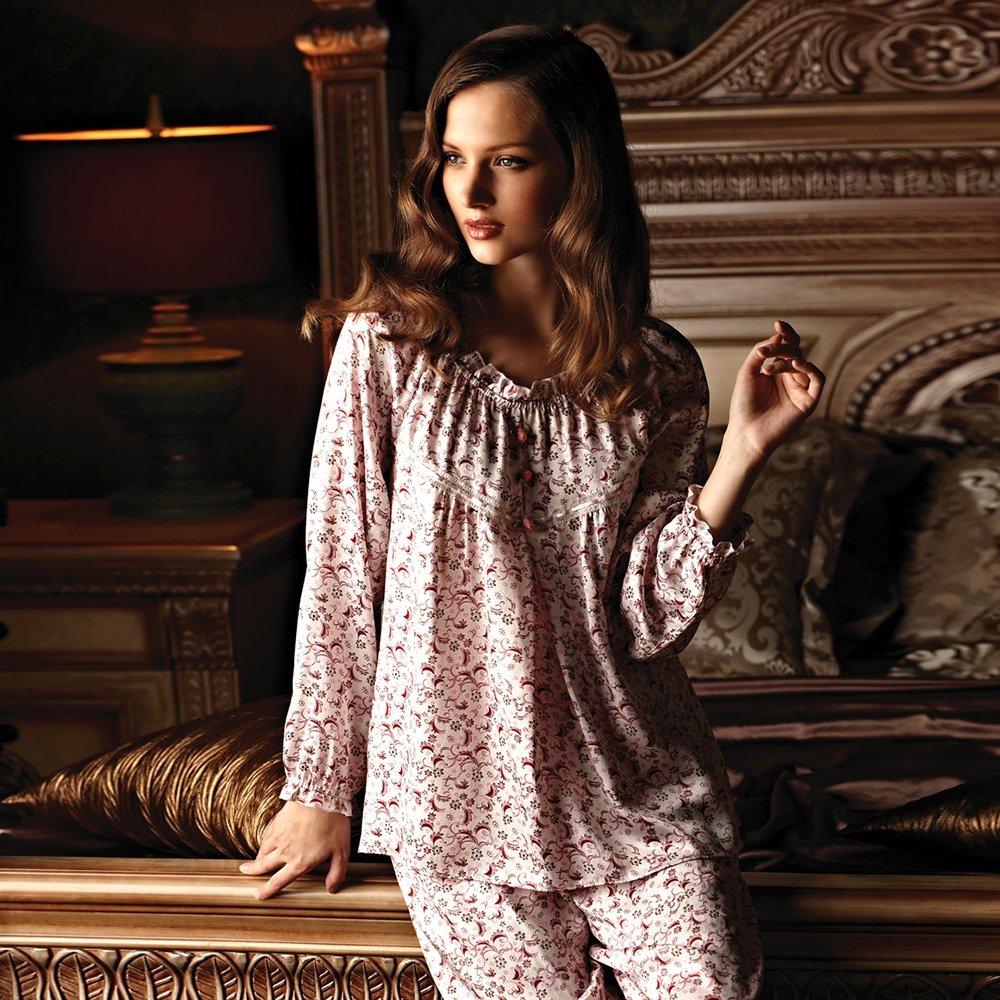 Peachy Beautiful Breathable Babydoll Princess Crewneck 100% Mulberry Silk Pajamas Pants