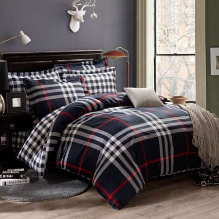 Dark Blue White and Red  Southwestern Tartan Plaid Print 100% Cotton Full, Queen Size Bedding Sets