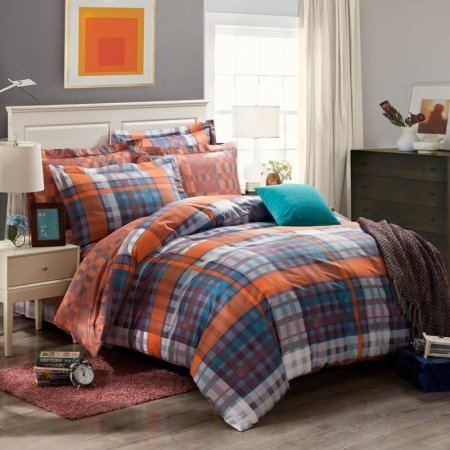 Kids and Teen Blue and Tan Traditional Tartan Plaid Print 100% Cotton Full, Queen Size Bedding Sets