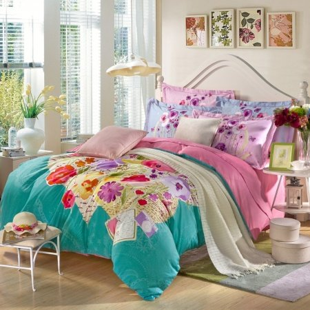 Teal Blue Yellow and Pink Unique Country Floral Full, Queen Size Durable 100% Cotton Bedding Sets