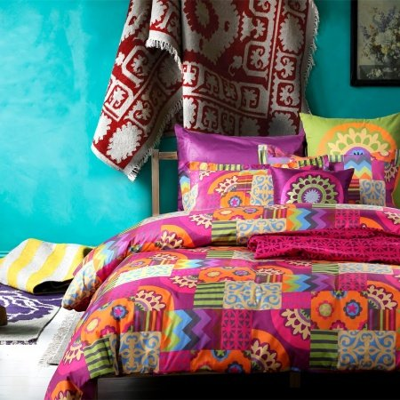 Colorful Circle Tribal Print Bohemian Modern Chic Reactive Printed Full, Queen Size Bedding Sets
