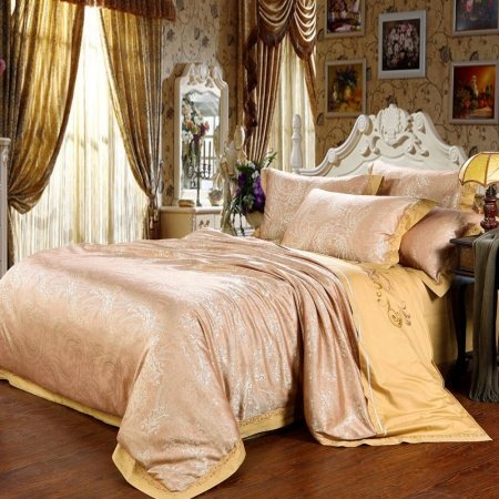 Yellow and Tan Gorgeous Paisley Print Classic Southwestern Jacquard Design Full, Queen Size Bedding Sets