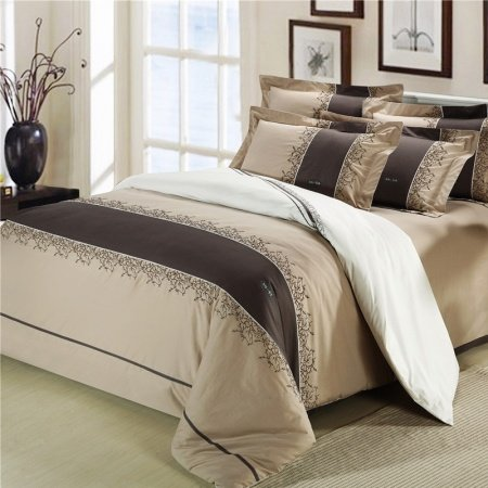 Coffee and Beige Simply Stripe Print Traditional Hotel Style Reactive Printed Full, Queen Size 100% Cotton Damask Bedding Sets