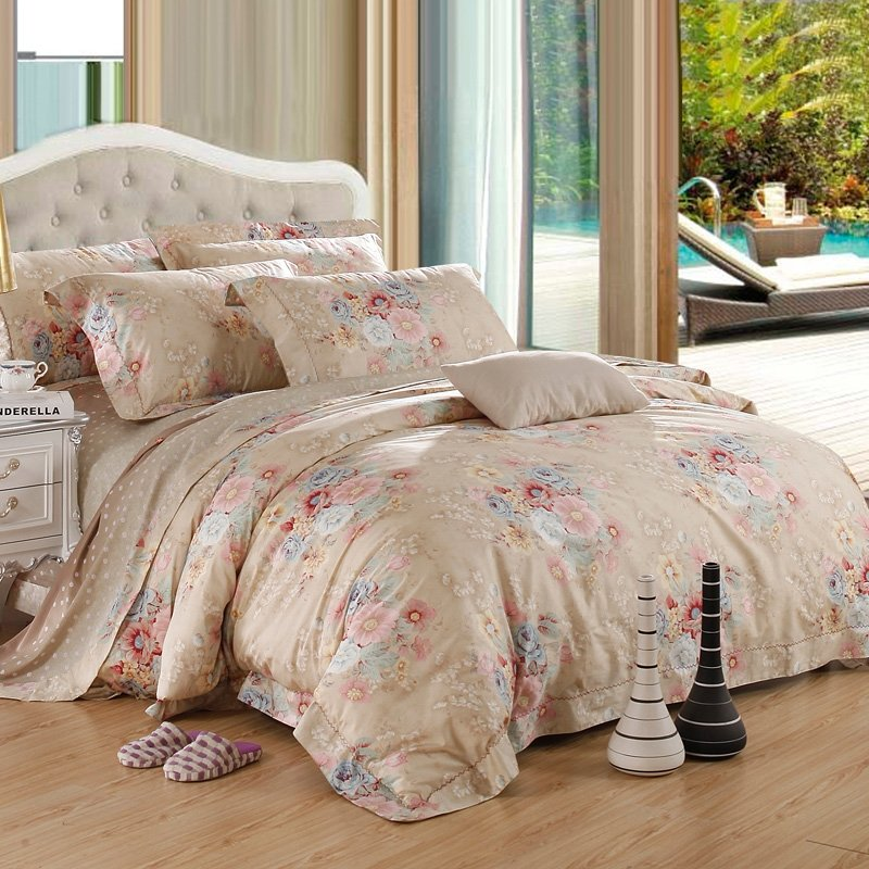 Beige Pink and Light Blue Oriental Floral Garden Images Vintage Chic Rustic Style Gorgeous 100% Egyptian Cotton Full, Queen Size Bedding Sets