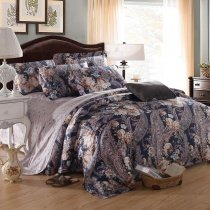 Blue Brown and Beige Indian Paisley Party Tribal and Bohemian Luxurious Shabby Chic 100% Egyptian Cotton Full, Queen Size Bedding Sets